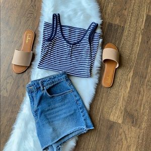 Blue & white stripped tank top w/ blue buttons